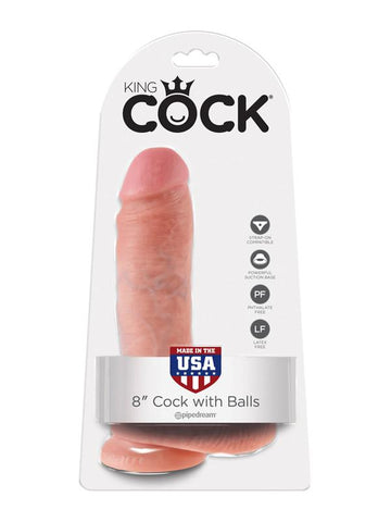 King Cock - 8 in. Cock With Balls Flesh