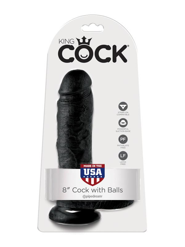 King Cock - 8 in. Cock With Balls Black
