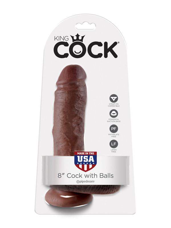 King Cock - 8 in. Cock With Balls Brown