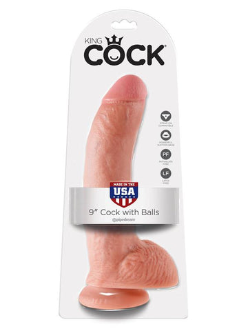 King Cock - 9 in. Cock With Balls Flesh