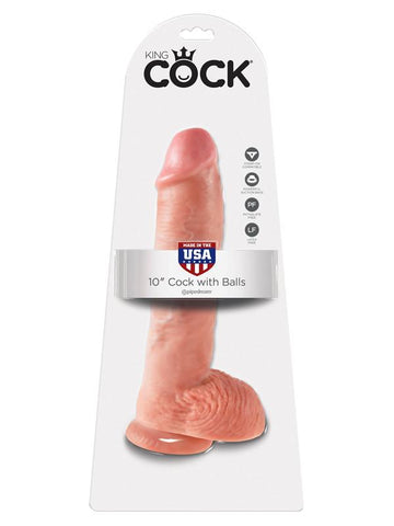 King Cock - 10 in. Cock With Balls Flesh