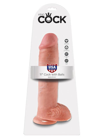 King Cock - 11 in. Cock With Balls Flesh