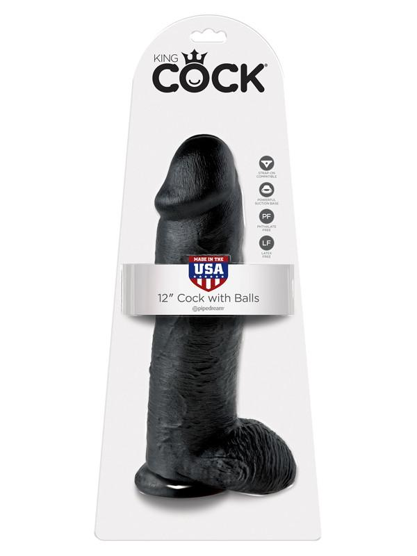 King Cock - 12 in. Cock With Balls Black