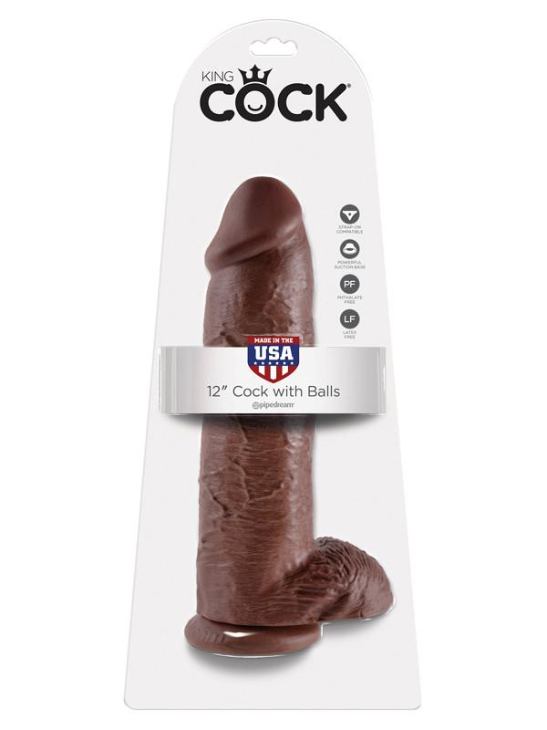 King Cock - 12 in. Cock With Balls Brown