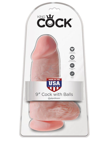 King Cock - Chubby 9 in. Cock With Balls - joujou.com.au