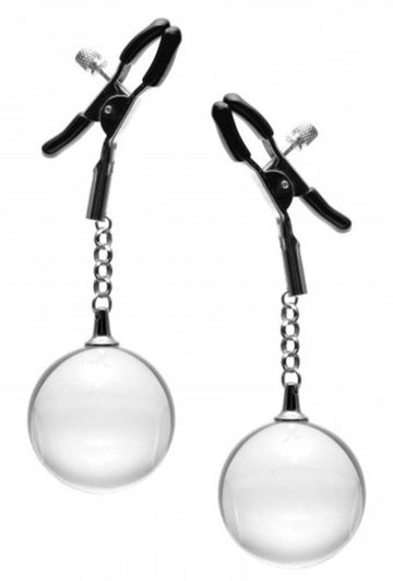 Spheres Nipple Clamps with Weighted Clear Orbs