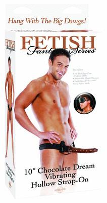 Fetish Fantasy Chocolate Dream Vibrating Hollow Strap On 10 in