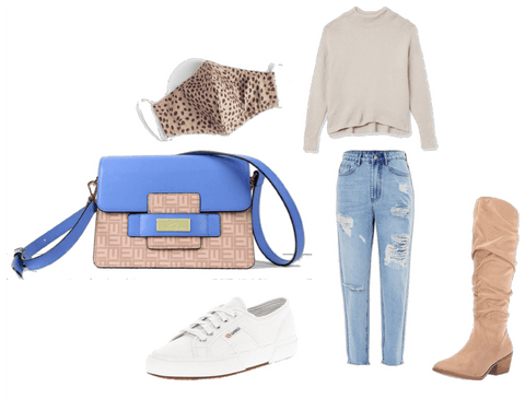 combining a icy blue crossbody leather bag