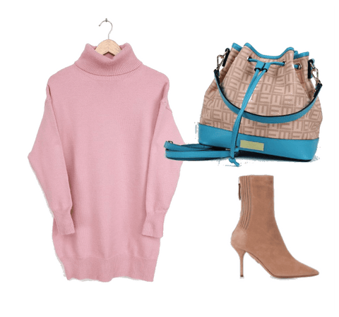 Pink Sweater dress with nude heels and teal bucket bag