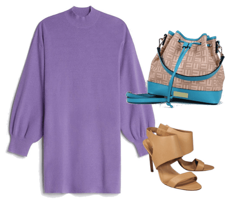 Lavender Long Sleeve Sweater Dress with sandals and teal bag