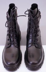 Cargar imagen en el visor de la galería, Smooth Genuine Leather Buckled Lace -up Combat Boots for Women - Eugenia Molina