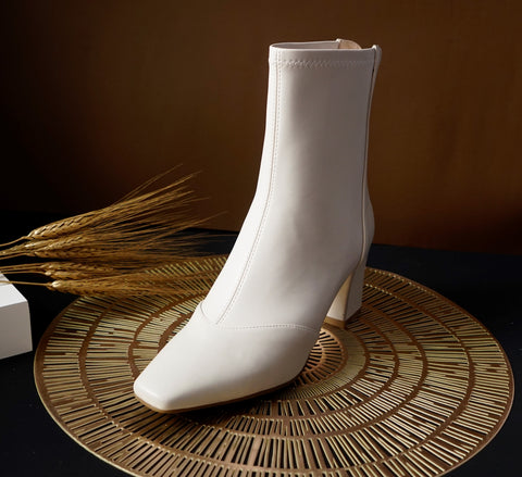 off white leather ankle boots for women