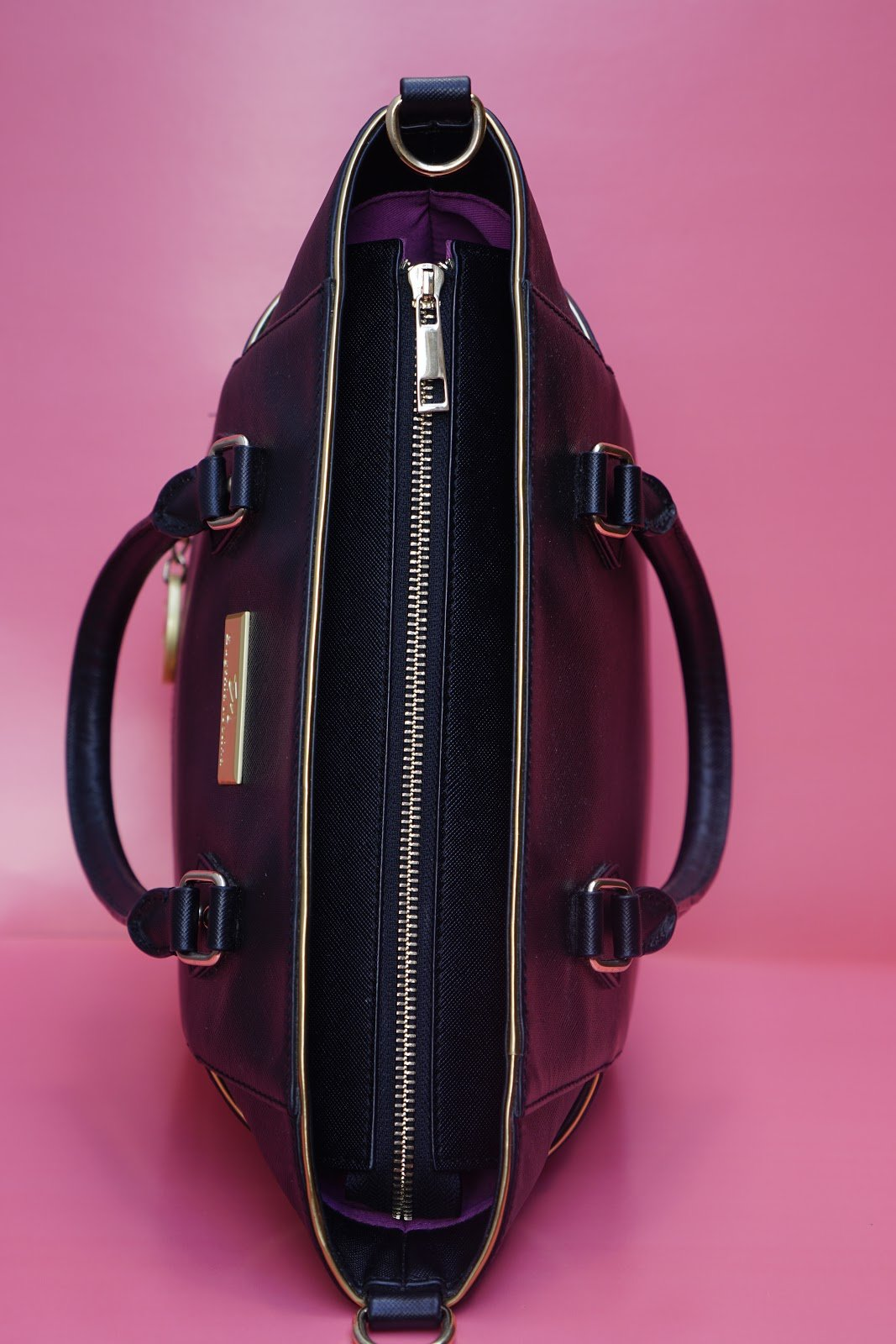 Black Leather Satchel Bag for Women - Eugenia Molina