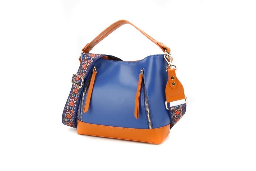 leather blue orange mini tote bag.  Tote leather bag, Leather tote bag, Woman crossbody bag, Small leather tote, Leather shopping bag, Orange leather tote.