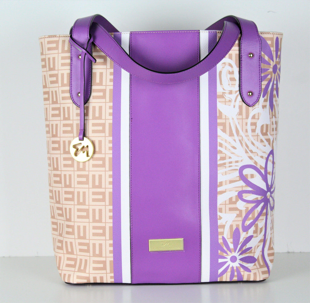 designer purple leather tote bag
