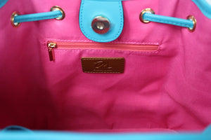 designer teal leather bag