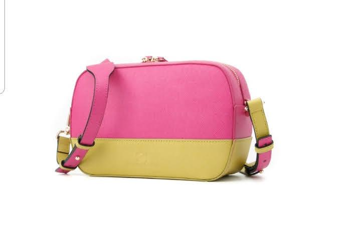 pink and yellow saffiano leather mini camera bag