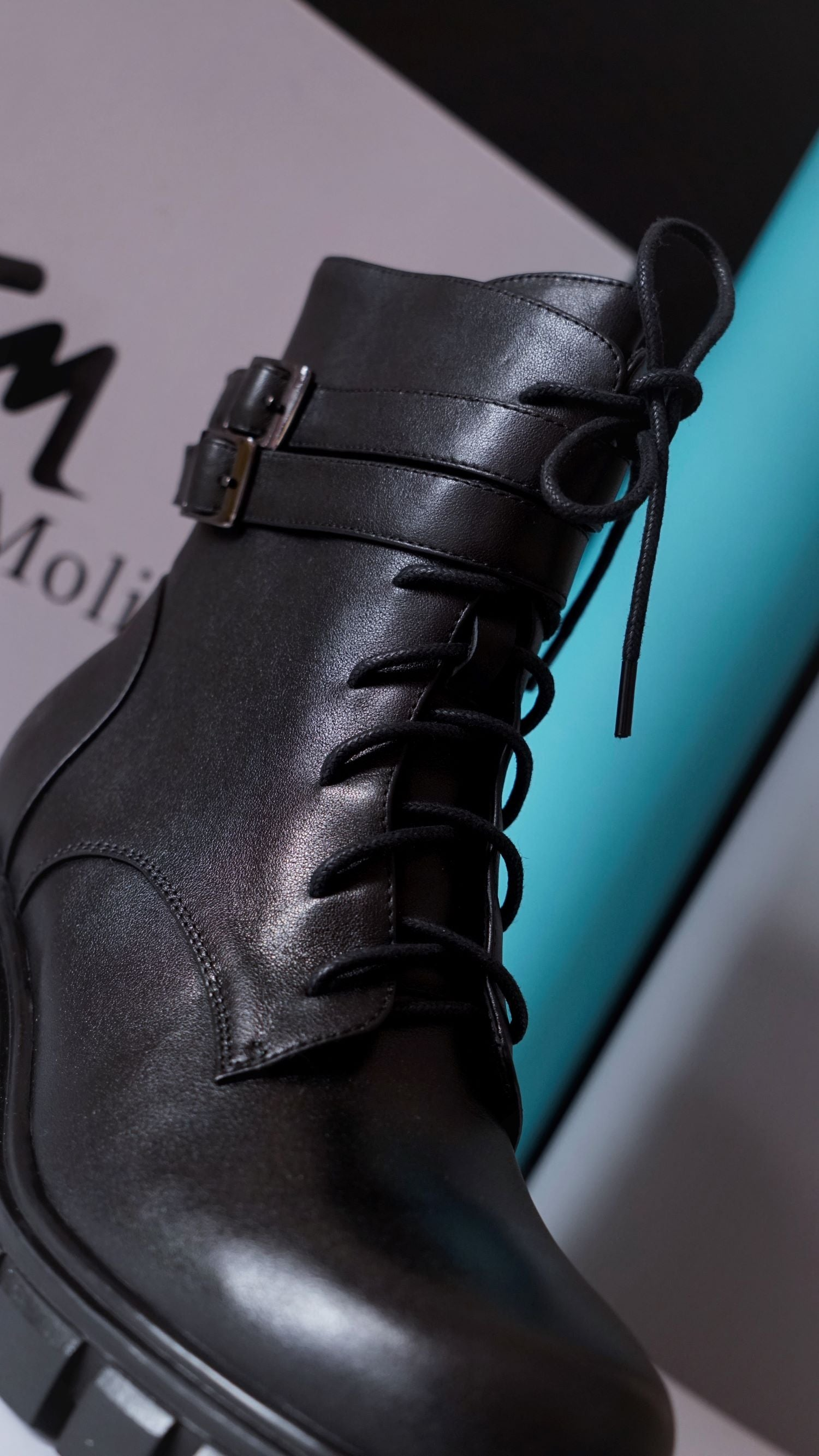 Smooth Genuine Leather Buckled Lace -up Combat Boots for Women - Eugenia Molina