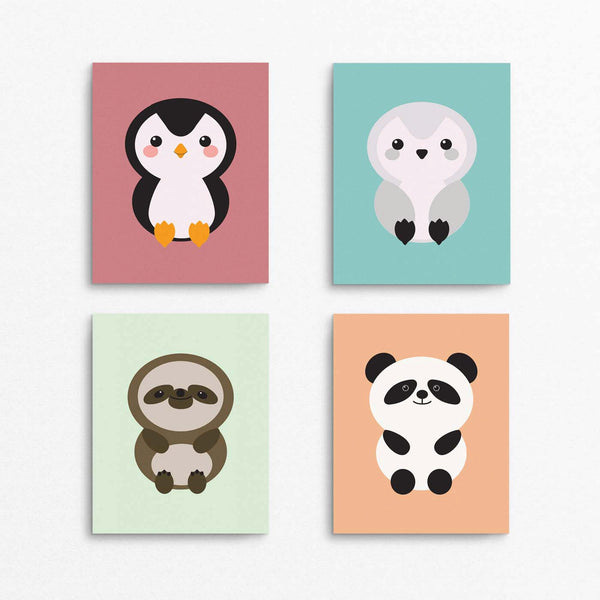 Animal Wall Art Printable Set: Penguin, Owl, Sloth, Panda