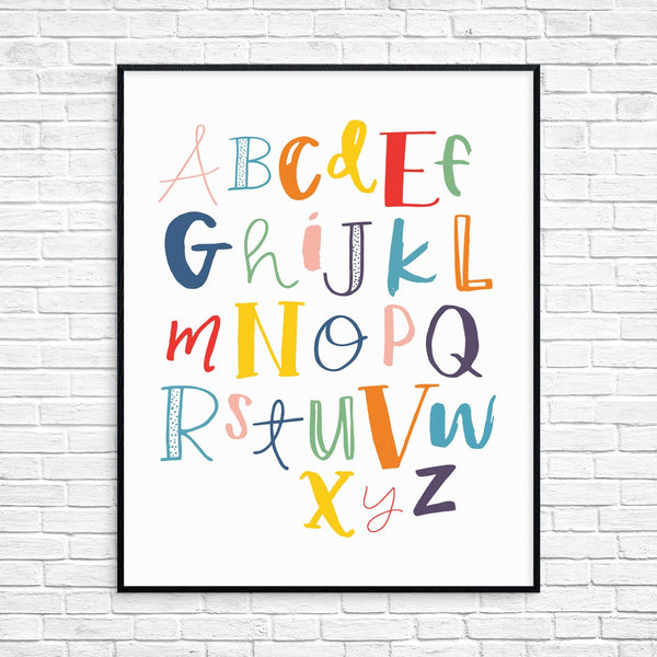 Colorful Alphabet Typography Printable Wall Art