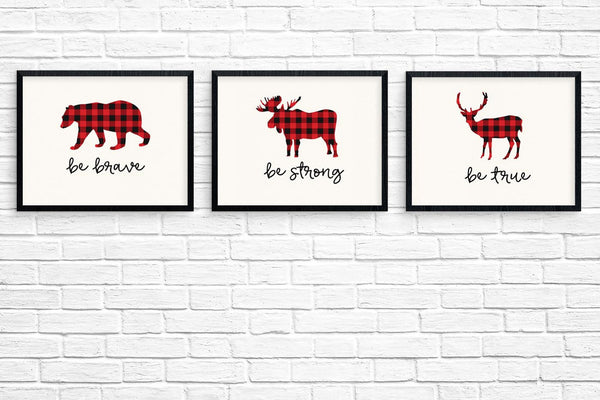 Buffalo Plaid Animal Wall Art