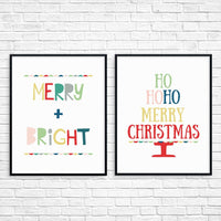 Christmas Printable Art Set Colorful Christmas Decor
