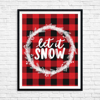 Let it Snow Buffalo Plaid Printable Christmas Wall Art