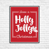"Red ""Holly Jolly Christmas"" Printable Wall Art"