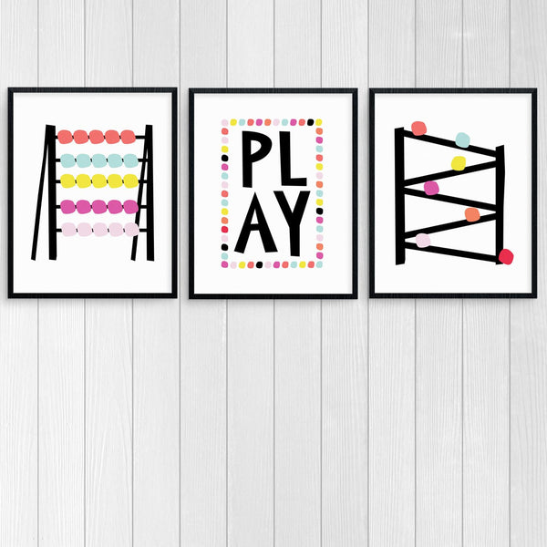 """Play"" Colorful Graphic Art Printable Set for Kids Room"
