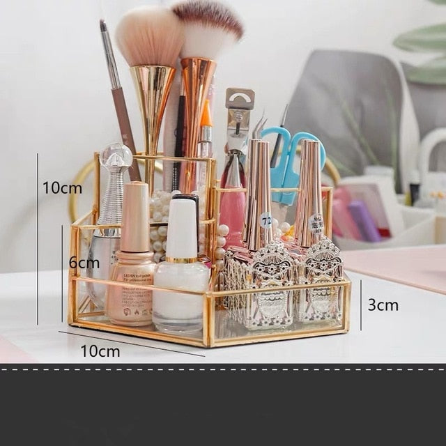 Metallic Glass Storage Box For Cosmetics - POPHOLLY