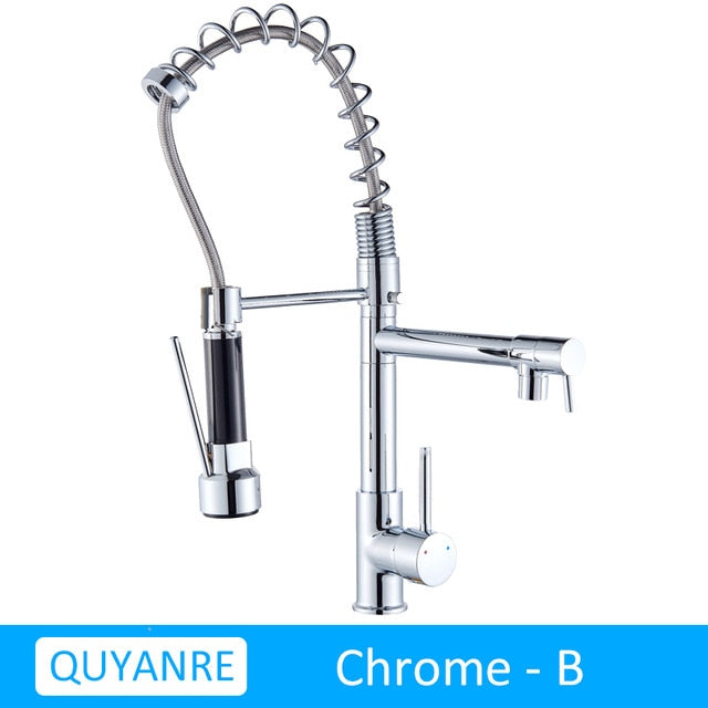 Kitchen Faucet Rotating Dual Sprayer Mixer Tap - POPHOLLY