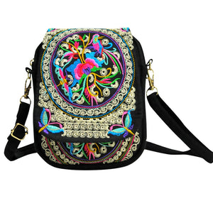 Womens Ethnic Style Mini Embroidered Retro Backpack - POPHOLLY
