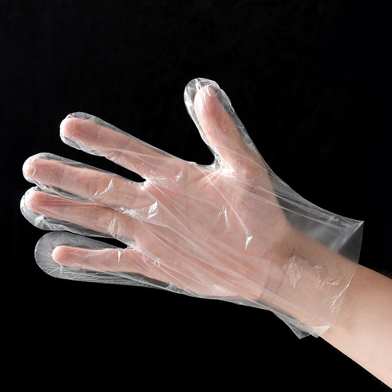 Transparent 50/100PCS/Set Cleaning Plastic Disposable gloves - POPHOLLY