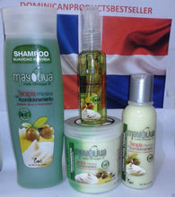 Cargar imagen en el visor de la galería, Mayoliva Boe Combo Shampoo Hair Treatment 8 oz Leave In Shine Drops Nourishing