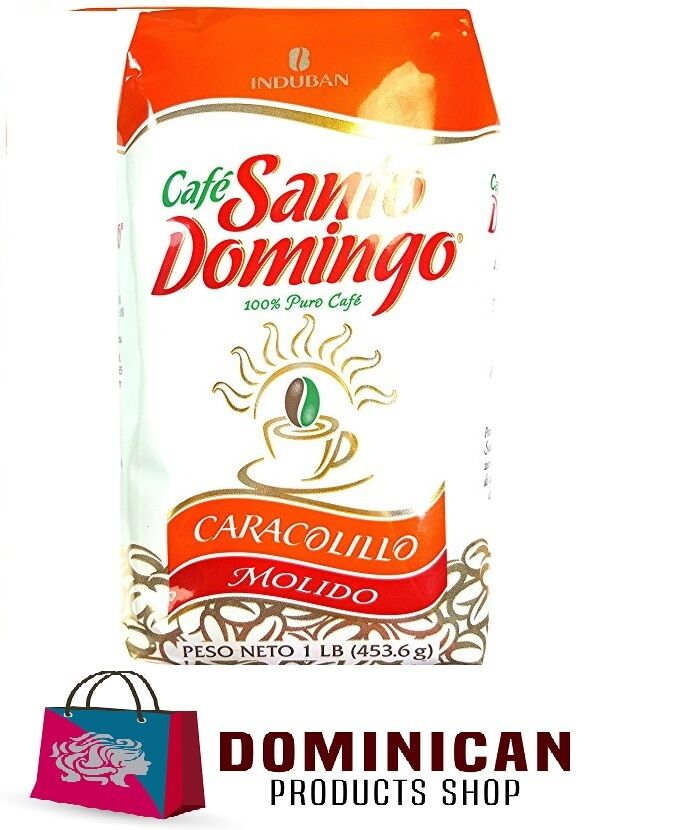 CAFE SANTO DOMINGO CARACOLILLO DOMINICAN GROUNDED COFFEE 1 POUNDS 454 GRAMS BAG