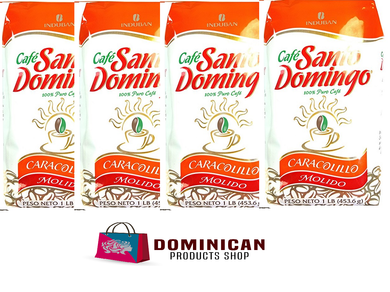 4 pound CAFE Santo Domingo CARACOLILLO toasted whole bean coffee 100% EUROPE