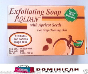 Roldan Exfoliating Soap with Apricot Seeds 3.5 softens and exfoliates rough skin