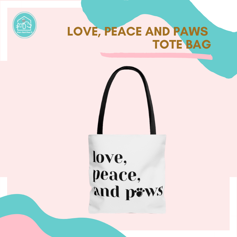 Love, Peace and Paws Tote Bag