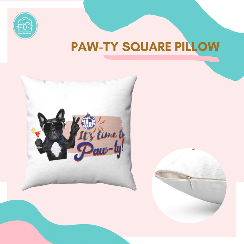 Paw-ty Square Pillow