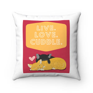 Open image in slideshow, Live Love Cuddle Square Pillow
