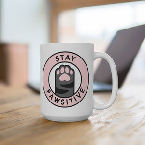 Stay Pawsitive Mug - White - Purrfectpawyou