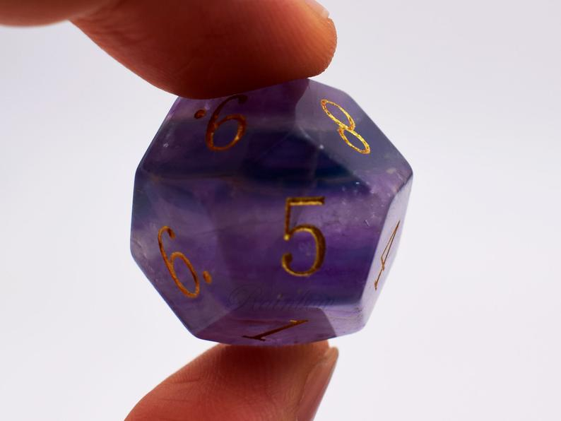 Real Rainbow Fluorite Astrology Divination Gemstone Dice