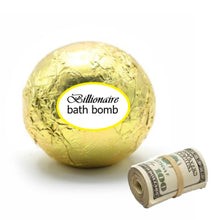 Load image into Gallery viewer, Golden Billionaire Bath Bomb Real Cash Money Inside Up To 100 Dollars