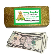 Load image into Gallery viewer, The Golden Billionaire Bath Bar Up To $100 In Each Bar Of Money Soap Made With Gold Mica Powder As Seen On Tik Tok
