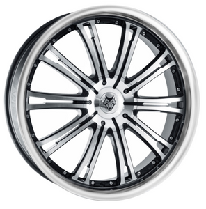 8.5X18 WOLF DESIGN VERMONT GLOSS BLACK POLISHED POLISHED LIP ALLOY WHEELS