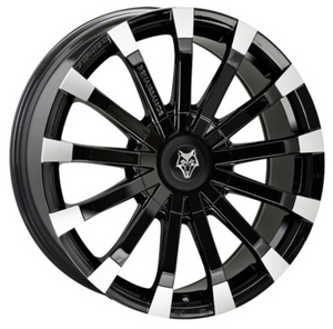 8.5X18 WOLFRACE EUROSPORT RENAISSANCE GLOSS BLACK POLISHED ALLOY WHEELS