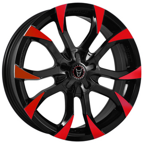 8X18 WOLFRACE EUROSPORT ASSASSIN GLOSS BLACK RED TIPS ALLOY WHEELS