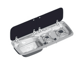 SMEV MO9222 2 BURNER COMBINATION UNIT WITH GLASS LIDS
