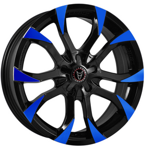 8X18 WOLFRACE EUROSPORT ASSASSIN GLOSS BLACK BLUE TIPS ALLOY WHEELS