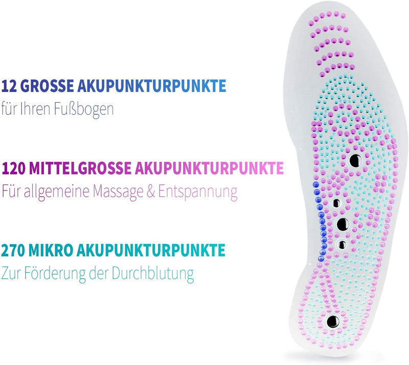 ORTHOPEO© Magnetic Insoles Euphoric Feet - Massage Acupressure Insoles for Men - Relaxed Feet - Orthopaedic Insoles for Foot Pain - Shoe Insoles with Feel-Good Effect
